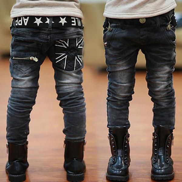 2017 Fashion boys jeans autumn children casual letters belt zipper pocket long pants &winter plus thick velvet jeans boy pants