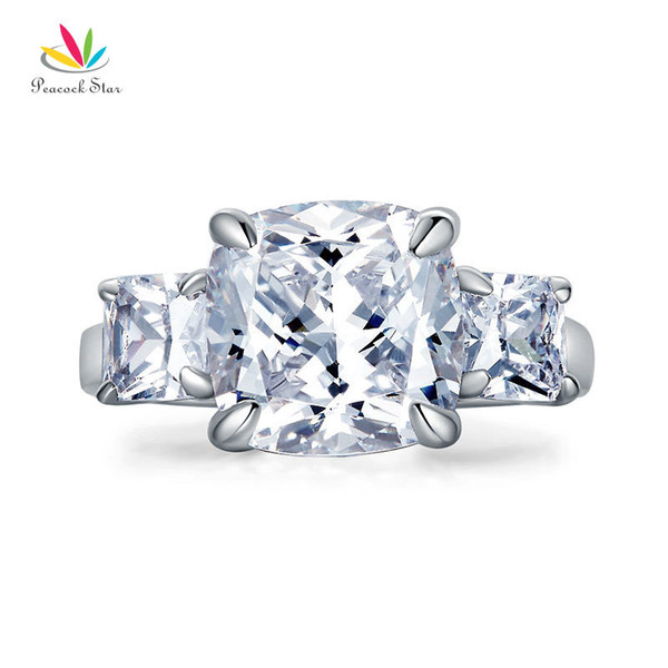 Peacock Star Cushion Cut 4 Carat Solid 925 Sterling Silver Ring Three-Stone Pageant Luxury Jewelry CFR8309 S18101608