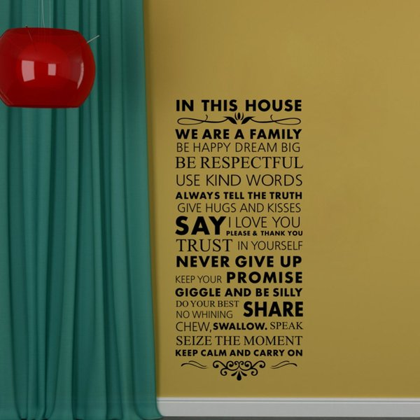 In This House We Are a Family Removable Vinly Wall Stickers Quotes and Saying Art Wall Decor Decals for Living Room Home Decor