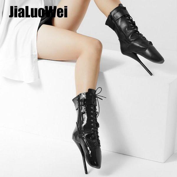 "7""&18cm Unisex Spike High Heel BALLET Shoes Black lace up Mid-calf Boots Women Fetish ballet boots Man plus size 36-46"