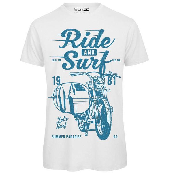 T-Shirt Divertente Maglia Uomo Con Stampa Estiva Colorata Sidecar Ride and Surfer Printed Men T Shirt Clothes Top Tee