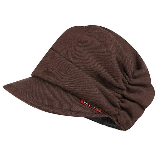 Gorro elástico para mujer de punto de algodón, estilo de vendedor de periódicos, sombrero marrón gris amarillo rojo oscuro