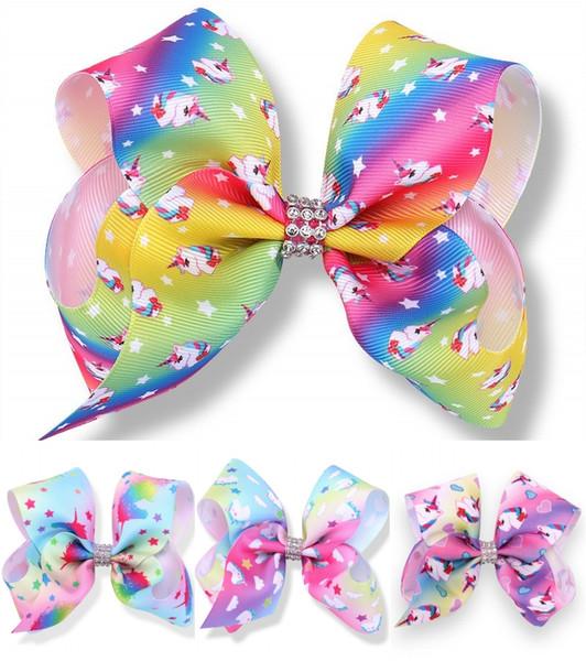 JOJO 5 Inch Baby Girls Rainbow Hair Bow Clips 20 Styles Unicorn Hair Pins Barrettes Bowknot Hair Clip For Little Baby Children's Gift H964R