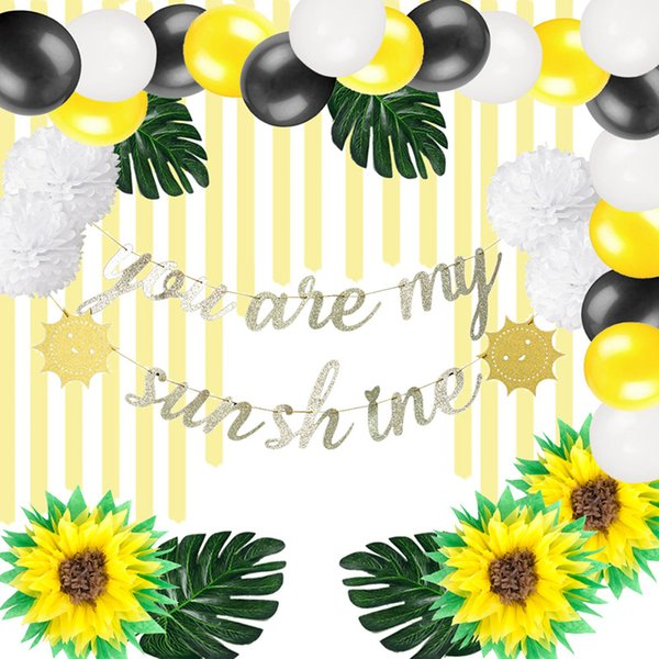 2019 You Are My Sunshine Theme Party Decorations Baby Shower Kids 1st Birthday Party Supplies Banner Pom Poms Flower Tropical Leaves From Suozhi1992