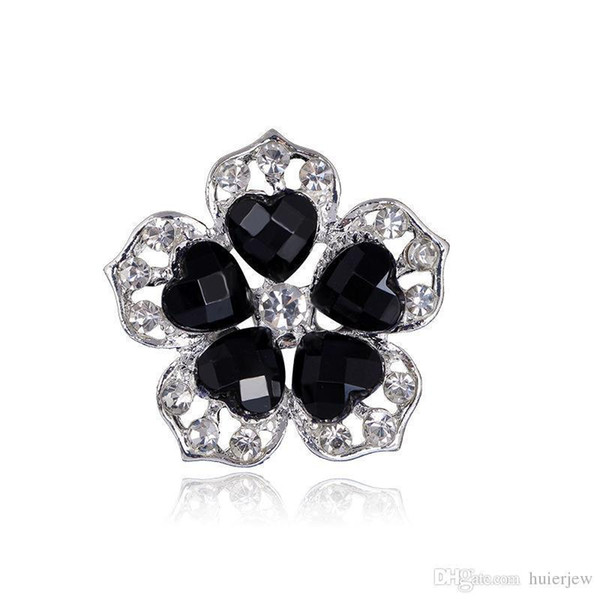 Hübsche Broschen für Frauen Retro Style Black Big Crystal Brosche Elegante schwarz gefärbte Blume Frauen Brosche Pins Crystal Strass Broschen