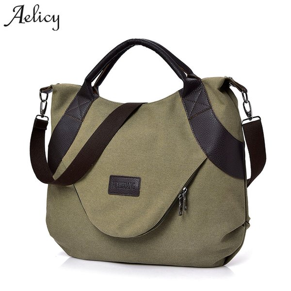 2019 Fashion Aelicy New Summer Women Canvas Zipper style Shoulder Beach Bag Female Casual Tote Shopping Big Bag Messenger Bags