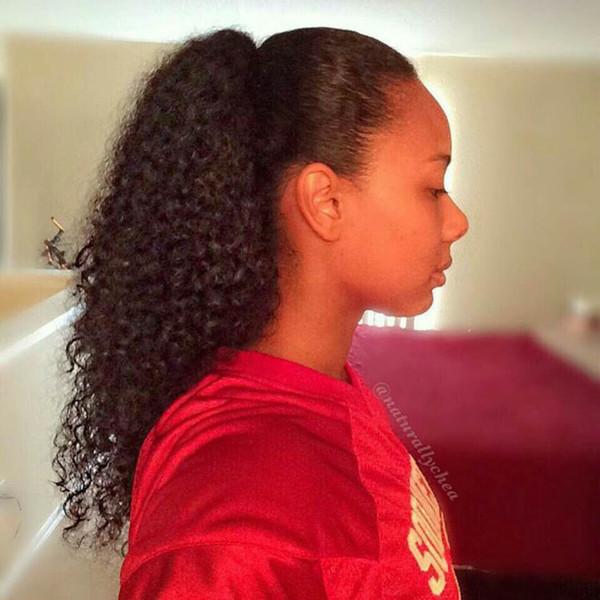 1 ADET Klip Ponytails Kıvırcık Dalga İnsan Saç İpli At Kuyruğu Kıvırcık Klip Afrika Amerikan Için Elastik Siyah Kısa Saç Uzatma
