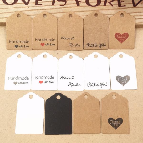 200 stücke Kraftpapier Schöne Geschenk Tags DIY Handgemachte Preisschilder / Backen Taschen Verpackung Etiketten für Blume / Kosmetik / Schmuck / flasche / Trinken