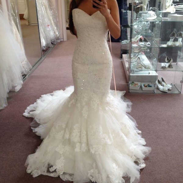 Cheap Elegant Lace Mermaid Wedding Dresses 2018 Appliques Beads Sequins Sweetheart Tiered Skirts Wedding Dress Plus Size Bridal Gowns Custom