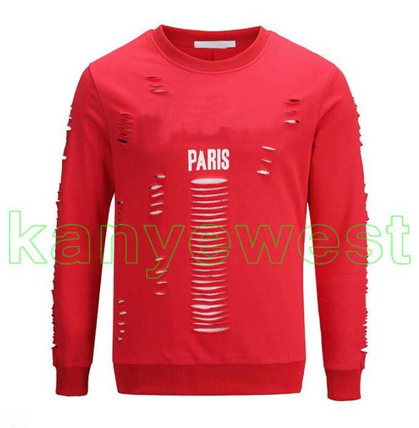 2018 Alta calidad Lujo Invierno Europa París Negro rojo Sudadera blanca Moda Hombres o-cuello Agujero roto Sudadera Mujeres Hoodies Jumpers