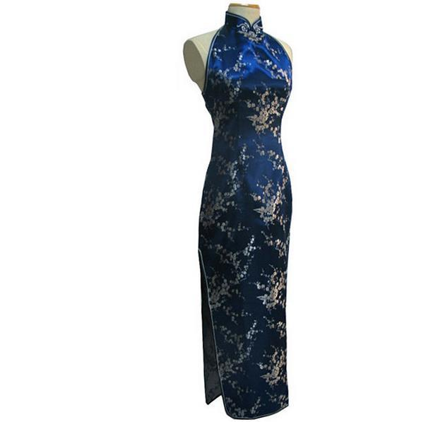 Navy Blue Vintage Lady Silk Evening Dress Chinese Novelty Backless Cheongsam Qipao Flower Size S M L XL XXL XXXL WC092
