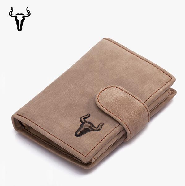 Vintage Genuine Leather Trifold Vertical Men Wallets Hnad Made Crazy Horse Multifunctional Short Wallet Card Holder Coin Bag W191