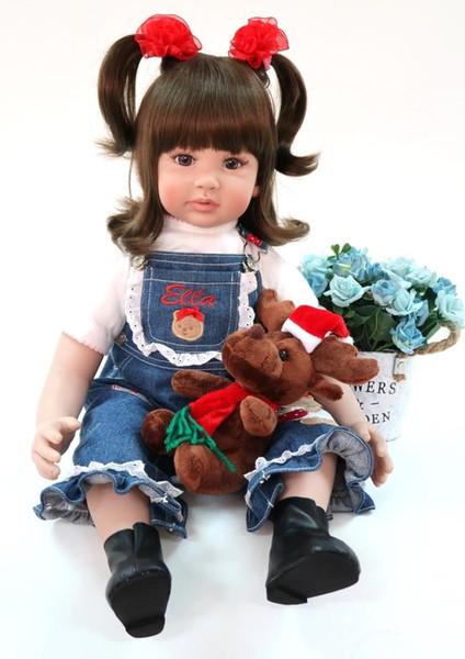 60 cm Encantador de Silicona Reborn Baby Girl Doll Juguete Vinilo Princesa Toddler Babies Like Alive Bebe Bonecas Moda Cumpleaños Regalo de Navidad