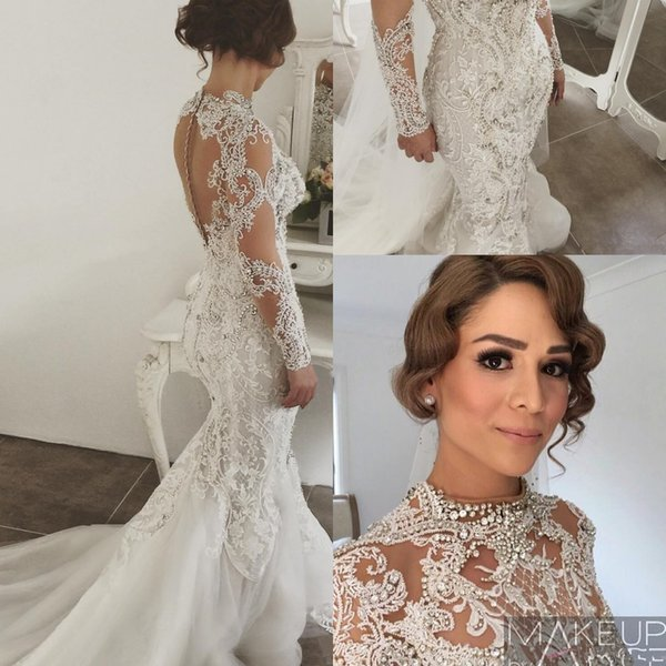 Luxury Arabic Long Sleeves Lace Mermaid Wedding Dresses Beaded Crystals Sweep Train Wedding Bridal Gowns With Buttons
