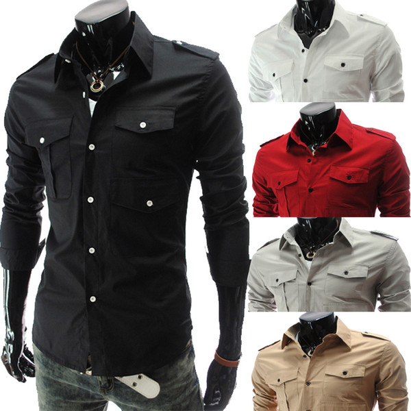 New arrival Men Slim Casual Long Sleeve Shirt Korean Pure Color fashion epaulette double pocket Epaulets