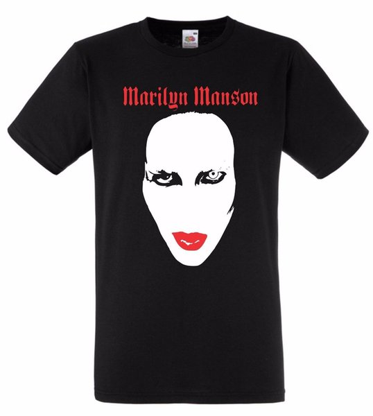 Official T Shirt MARILYN MANSON- RED LIPS All Sizes Black Mens free delivery 2018 Summer Men'S Brand Clothing O-Neck