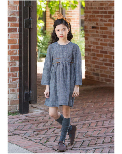4 to 12 year Girls autumn plaid dress, child spring fall England style clothes, kids & teenager boutique clothing, wholesale, 6AH706DS-24