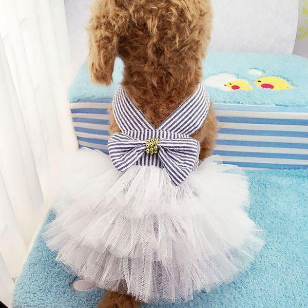Haustier Sommer Hunde Harness Rock Kleidung kleinen Hund Kleid Pet Tutu Kleid Brautkleid