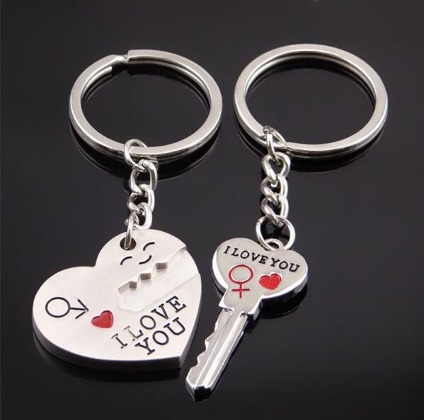 HOT Couple Keychains I LOVE YOU Heart Keychain Ring Key Chain Lover Romantic Valentine's Day Gift Puzzle Keychain chaveiro llaveros