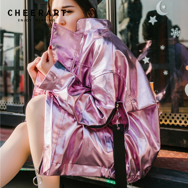 Cheerart Hip Hop Oversized Silver Jacket Women Pu Leather Glitter Loose Coat Streetwear Clothing Big Size Jackets Rock Punk Coat C18110601