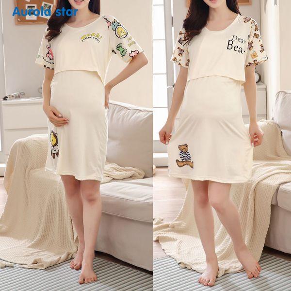 Maternity Pajamas Nursing Breastfeed Dress Pregnant Sleepwear Breast feeding For Pregnant Women Cartoon Print O Boat Breastfeed