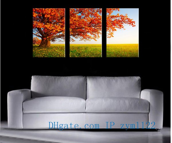 Prairie tree 3Pieces Home Decor HD Printed Modern Art Painting on Canvas (Unframed/Framed)