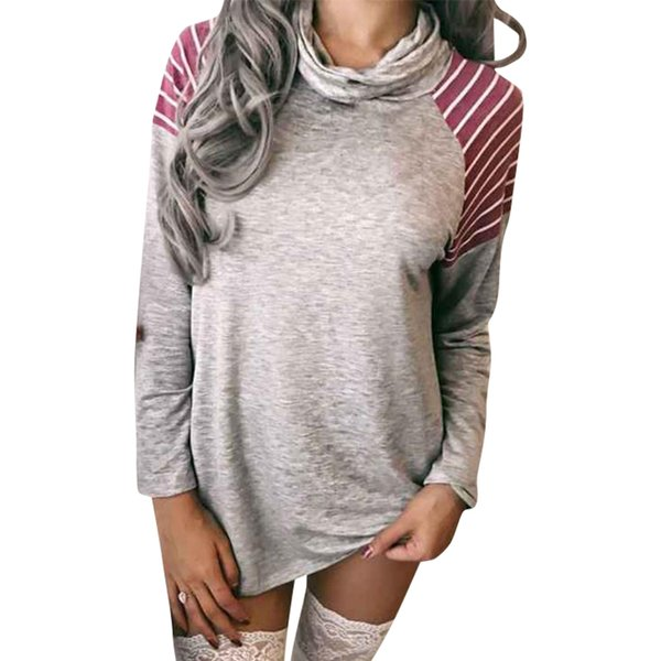Casual Women Tops Tee Shrit T Shirts Turtleneck Loose Work Shirts Full Sleeve Striped Work Clothes For Women WS3184U