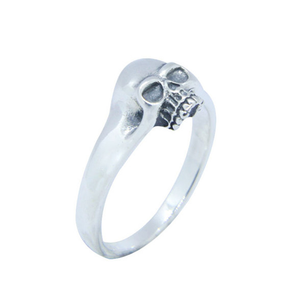 Free Shipping 925 Sterling Silver Polish Skull Ring Fashion Jewelry Size 6-10 Lady Girls Band Party Biker Ring