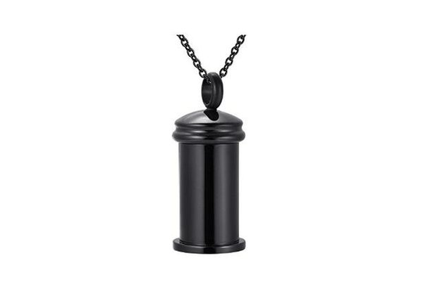 Stainless steel love cylindrical medicine bottle necklace commemorative family pet cremation funeral urn pendant man woman pendant