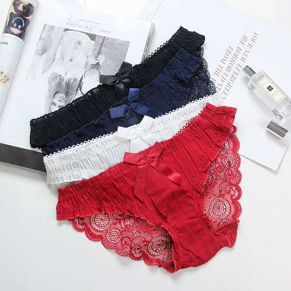 women underwear see through sexy lace panties bow tie women underpants fold sexy briefs transparent underwear 086