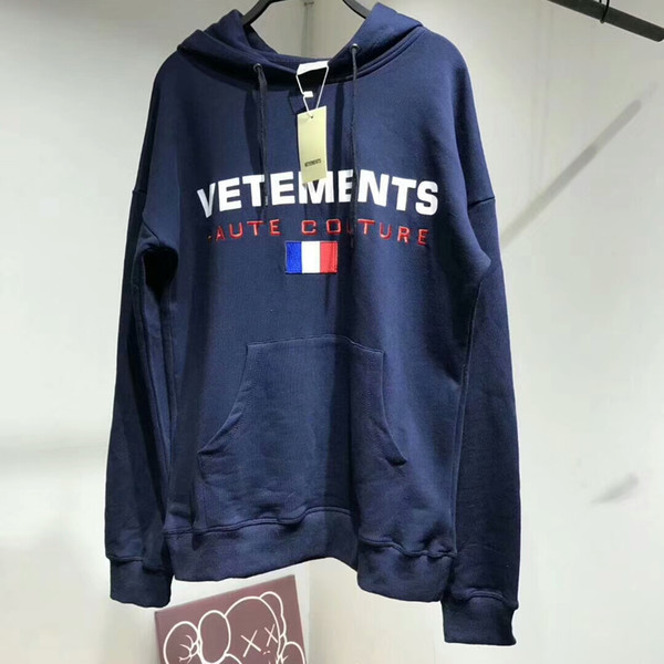 Fashion 17fw Vetements Oversized Embroidery France Flag Hip Hop Hooded Haute Couture Sweatshirts Long Sleeve Hoodie