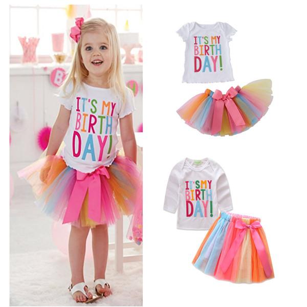 Camiseta de la torta del cumpleaños de los bebés de Ins + falda del arco iris 2pcs algodón de manga larga de manga corta 2 diseños Trajes para la fiesta de cumpleaños