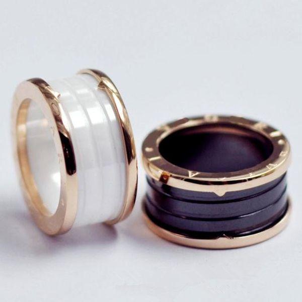 Siyah Beyaz Seramik Whorl Yüzükler Gül Altın Gümüş Metal Renkler Titanyum Paslanmaz Çelik Marka B Mektup Halka Moda Takı Boyutu 5 To 10