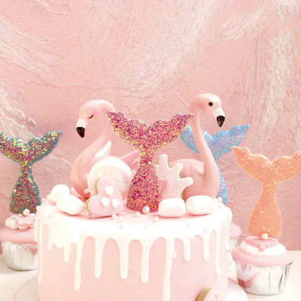 cake toppers fish tail glitter cards banner for fruit Cupcake Wrapper Baking Cup birthday tea party wedding decor baby shower