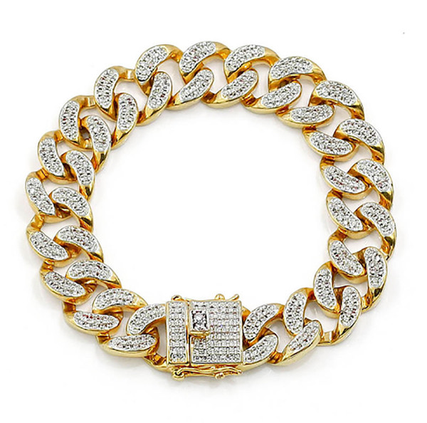Luxury Mens Bracelets 14MM 20CM Hip Hop Cubic Zirconia Diamonds Miami Cuban Link Chain Bracelet 18K Gold Silver Plated Jewelry Decoration