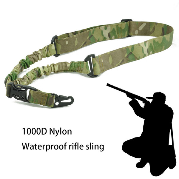 1 point rifle gun sling strap combat with adjustable bungee tactical single point gun sling airsoft hunting sling for outdoor sun thumbnail
