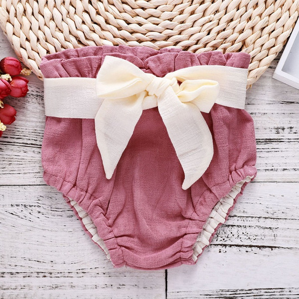 Baby Girls Large Bow PP Pants Solid Color Summer 2018 Kids Clothing for Boutique Euro America Little Girls Cotton High Waist Pants