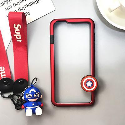 Couverture de téléphone portable et accessoires, étui de téléphone portable mignon de bande dessinée pour iphone avec Kickstand Corde de suspension.