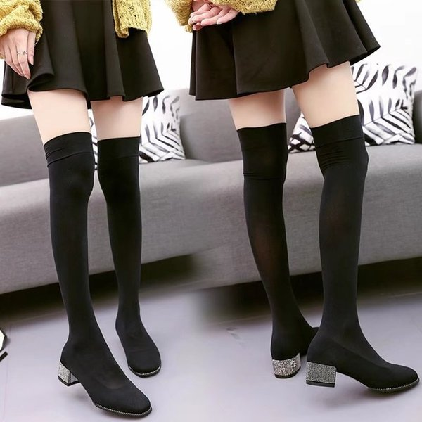 2017 autumn and winter new boots knee socks boots with rough with diamond elastic stovepipe boots shoes