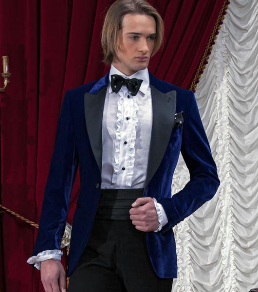Best Desigen Navy Blue Velvet Groom Tuxedos Peaked Lapel Trim Fit Groomsmen Wedding Tuxedos Men Party Suits((Jacket+Pants+Tie+Girdle) NO;428