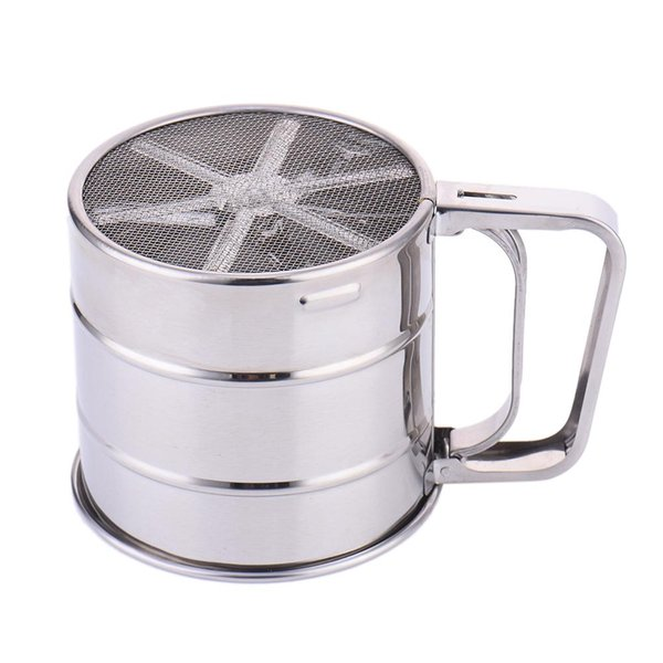 Stainless Steel Single-deckFlat Flour Sifter Hand-held Flour Sifter Household Sifter for Kitchen Tool