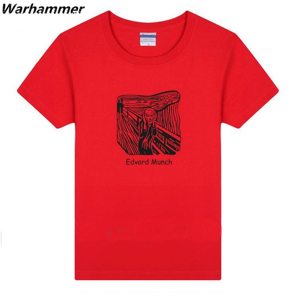 Warhammer The Scream Edvard Munch T-shirt Men Summer New TV Movie Fans O-Neck Short Sleeve Cotton 14Colors 3XL Tee Shirt Homme Drop Shipping