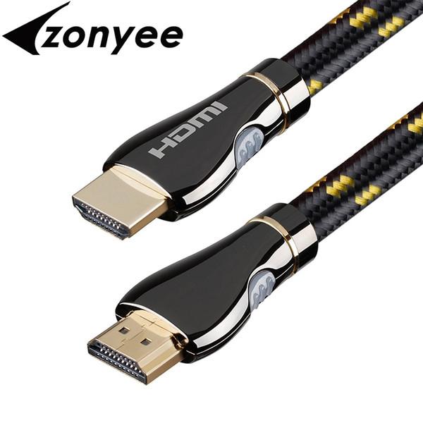 Zonyee HDMI Kablosu 3 m 10 ayak Örgülü Kordon Yüksek Hızlı 3D 4 K HDMI 2.0 Hazır Altın Kaplama Konnektörler Destek 60Hz 18 Gbps Kablo