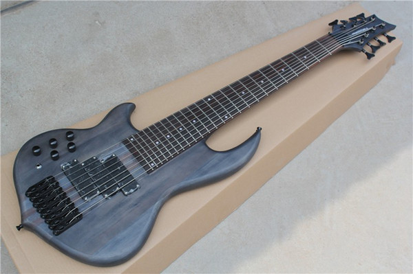 Factory Custom 24 frets 8 strings black neck-thru-body left handed Electric Bass Guitar with 3 pickups,can be customized