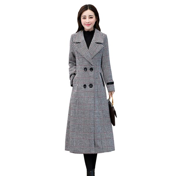 Wool Coat Women New Double Breasted Winter Jacket Loose Large size Plaid Long Outerwear High Quality Female Basic Coats NW671