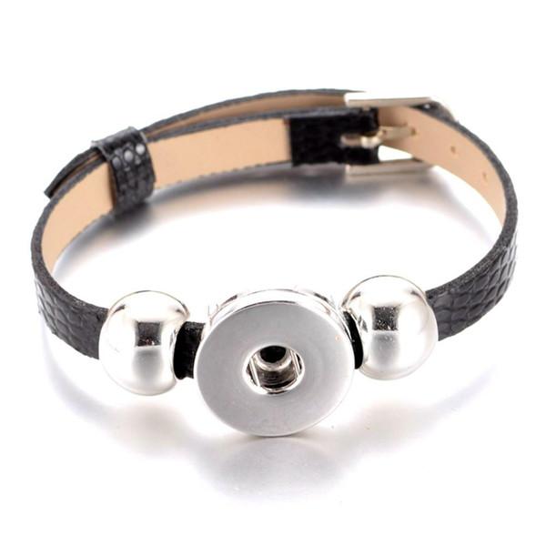 Wholesale- New Arrivals 15 cols cheaper PU Leather Bracelet 18mm snap button Bracelet fit 18mm DIY snap button armband Jewelry SZ0281a