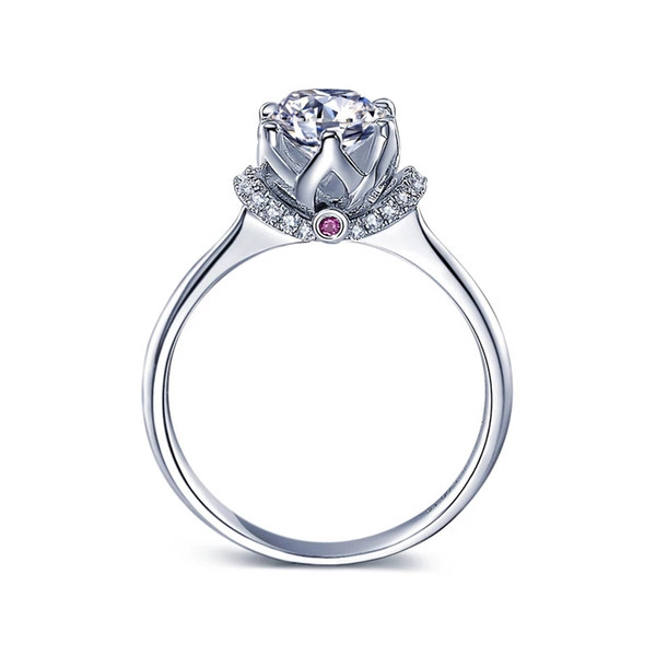 Beliebte romantische Blume Form Einstellung Rubin 1 Karat 9 Karat, 14 Karat Weißgold Lab-erstellt Moissanite Diamant Pricess Ring mit Zertifikat