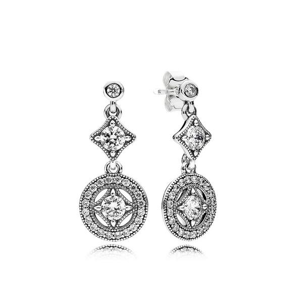 100% 925 Sterling Silver Women Luxury CZ Diamond disc Pendant Earrings Original box for Pandora Retro Dangle Earring