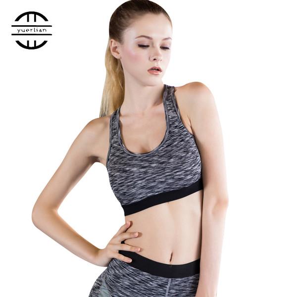 Hot Women Professionelle Crop Top Gepolsterte Yoga-Bh Blau Sujetador Deportivo Fitness Gym Atmungsaktive Sport-Bh Laufende Weste Frauen