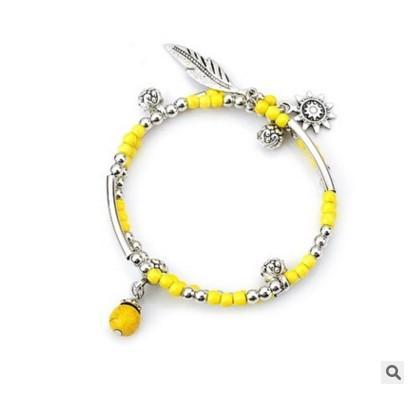 Multicolored multilayer Turquoise alloy bracelet, pine stone feather alloy pendant, Bohemia style.